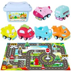 Tagitary Car Toy Sets Pull Back Cars For Toddlers, Friction Powered Vehicles ...