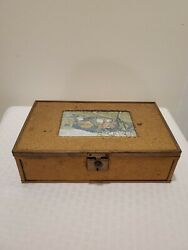 Rare Antique Booth's Chocolate Candy Box Metal/tin Wood Lined Mirror Elmira N.y.