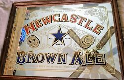 """Newcastle Brown Ale Beer Sign Mirror Glass Wood Breweriana 33"""" X 25"""" Rare Mint"""