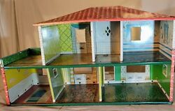 Vintage Tin 2-story Doll House Toy T Cohn Lithograph 1948 Spanish Style Home