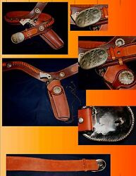 Antique Cowboy Western Gun Holster Silver And039and039crockett And Kelly Buckle