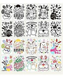 10pcs Happy Easter Stencils Creative Diy Plastic Drawing Painting Stencils T...