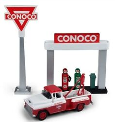 Ho Scale - 55' Chevy Tow Truck Conoco - Sign/gas Pump Island- Cmw-40009