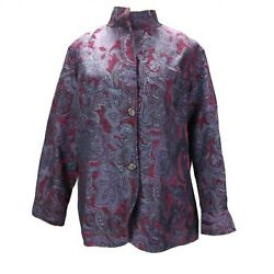 Coldwater Creek Tapestry Jacket Size 1X Purple Stand Up Collar Baroque Floral
