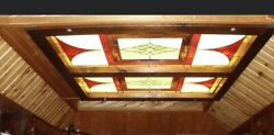 2 Large Stained Glass Panels Windows Or Ceiling Light Panels