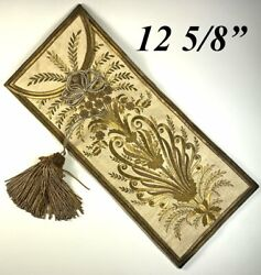 Antique Early C1800s French Gold Metallic Embroidery On Silk, Document Pouch