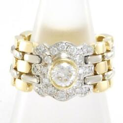 18k Yellow Gold White Ring 12 Size Diamond 0.23 About12.0g Free Shipping Used