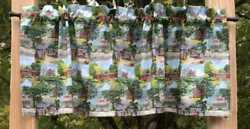 Handcrafted Valance Sewn From Coca Cola Rural Store Covered Bridge Scenic Fabric