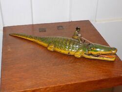 Vintage J. Chein Tin Wind Up Alligator With Native On His Back
