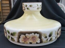 Vintage Very Large 14 1/2 Round Floral Hurricane Lamp Shade