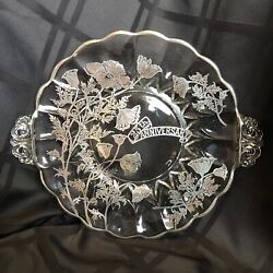 Vintage 25th Anniversary Silver Overlay Plate, Excellent Condition