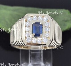 14k Yellow Gold Mens Natural Diamond And Sapphire Ring September Birthstone