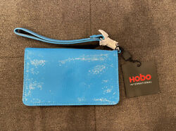 NEW HOBO International Ally Wallet Wristlet Patent Leather Clutch Blue Turquoise $34.95