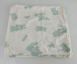 Vintage Baby Flannel Receiving Blanket Blue Teddy Bears Rattles Balloons 33andrdquox33andrdquo