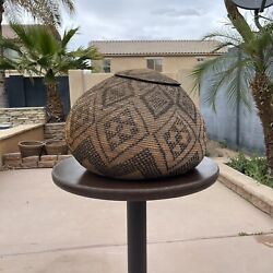 Large Woven African Zulu Beer Basket 13 X 17 With Lid