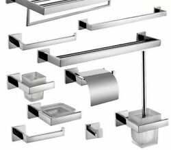Stainless Steel Bathroom Hardware Set Wall Mounted Chrome Accessories Decoration
