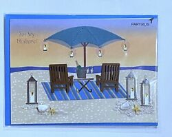 """PAPYRUS Father's Day Greeting Card Beach For Husband Partner 5"""" x 7"""" $6.00"""