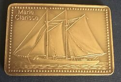 Tall Ships Collection Marie Clarisse Ingot Medal Boat Nautical Schooner