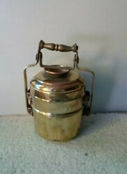 Antique Vintage Rare Collectible Small 2 Cantainers Tiffin Brass Lunch Boxes