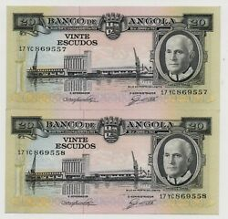 Angola Portugal 2 X 20 Escudos Running Numbers 1962 Pick 92 Unc