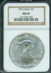 1995 American Silver Eagle Ase Ngc Ms69 Ms-69 Premium Quality Pq+ Older Holder