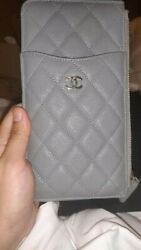 Authentic Caviar Wallet Card Phone Holder O-case Zip Pouch Clutch Gray