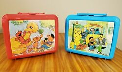 Vintage Lot Of 2 Sesame Street Plastic Lunch Boxes