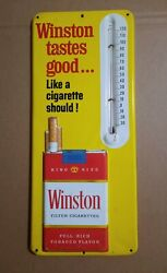 Vintage Winston Cigarettes Embossed Metal Thermometer Sign Tobacco Advertising