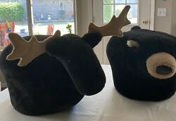 Antique Bear And Moose Foot Stools
