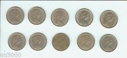 Ten 1971 Great Britain Large Old 5 Pence 5p Coins United Kingdom England Uk Gb