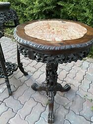 Antique Chinese Carved Forilate Table With Top Insert Dragon And Gourds Motif