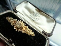 Victorian 15ct Gold And Diamond Etruscan Style Sweetheart Brooch H/m 1899 Chester