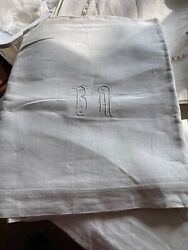 78 X 108 French Antique Linen Sheet W/fine Embroidery B M 1 Of 2 Nu