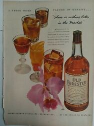 1948 Old Forester Kentucky Straight Bourbon Whiskey Bottle Cocktails Vintage Ad