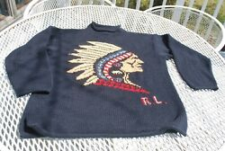 Vintage Country Hand Knit Indian Head Sweater Navy Mock Neck Ski M