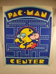 Vtg 1980 Double Sided Midway Mfg Co. Card Stock Poster Arcade Pac-man Center