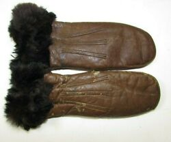Unusual Antique Baby Leather Fur Mittens Alaskan Inuit Style