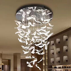 Top Hotel Lobby Feather Crystal Chandelier Living Room Staircase Hall Led Light