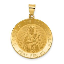 14k Yellow Gold Queen Of The Holy Scapular Reversible Medal Pendant 2.36gram