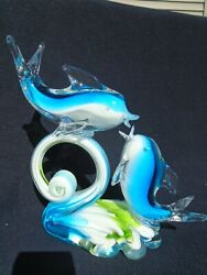 Murano Style 2 Dolphins On Wave Sculpture