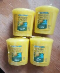 SPRING SALE YANKEE CANDLE SET OF 4 VOTIVE CANDLES: SICILIAN LEMON