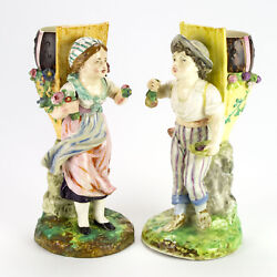 Antique Boy And Girl Fayence Mantle Ivy Vase Set, Signed Fb Paris And Dh, France 13