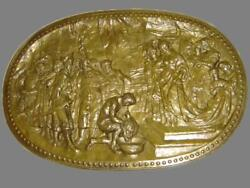 Antique Huge Religious The Beheading Of Saint John The Baptist Brass Wall Plaque