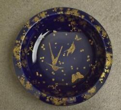 Crown Ducal Ware England Blue Serving Bowl Exotic Birds And Butterflies 12.5