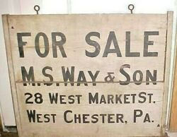 Painted Wood Real Estate Trade Sign Way And Son West Chester Pa 28 West Market St