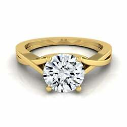 14k Yellow Gold 1/2ct Tdw White Diamond Solitaire Cathedral