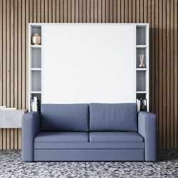 White Murphy Bed With Couch And Shelves Queen Size Wall Bed 3in1