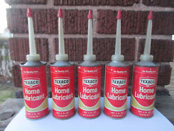 Lot Of 5 Vintage Texaco Home Lubricant Oil Cans 4 Oz Handy Oiler Can