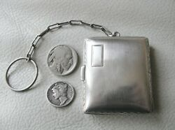 Antique Art Deco Sterling Silver Compact Chatelaine Stamp Case Holder Purse