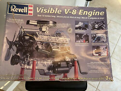 Vintage Revell Visible V-8 Engine 14 Scale Model Hand Crank, Open Box-see Descr